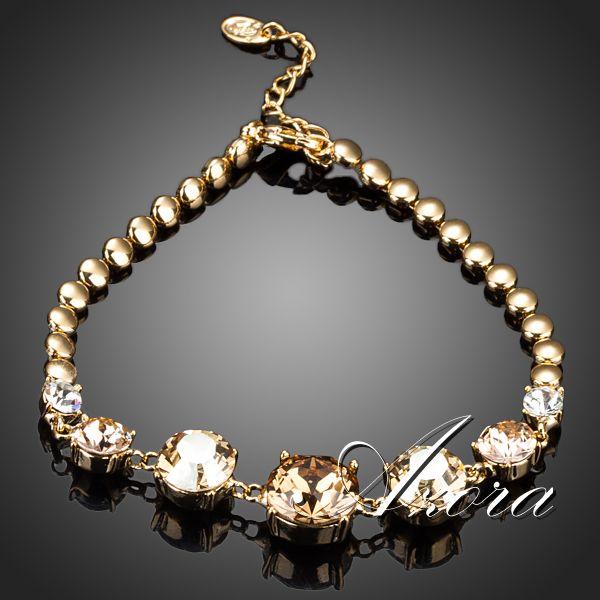 AZORA 18K Gold Plated 7pcs Round Swiss Cubic Zirconia Charm Bracelet TS0062<br><br>Aliexpress