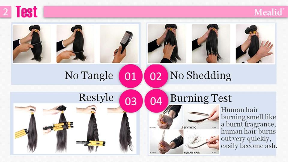 [Mealid] Malaysian Virgin Hair Straight 100% Natural Color 14″-24″ Unprocessed Human Hair Weave Bundles