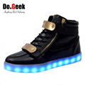 DoGeek LED Light Up Trainers Black White High Top Leather Men Women Casual shoes 7 colors