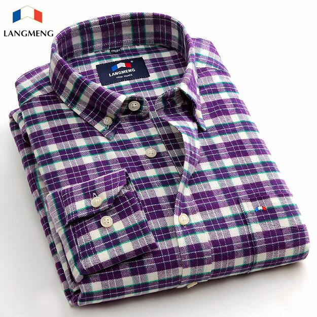 Luxury Italian Style Purple Plaid Men Shirt Long Sleeve Slim Fit Brand Clothing Chemise 2016 Cotton Flannel Casual Shirt Male(China (Mainland))