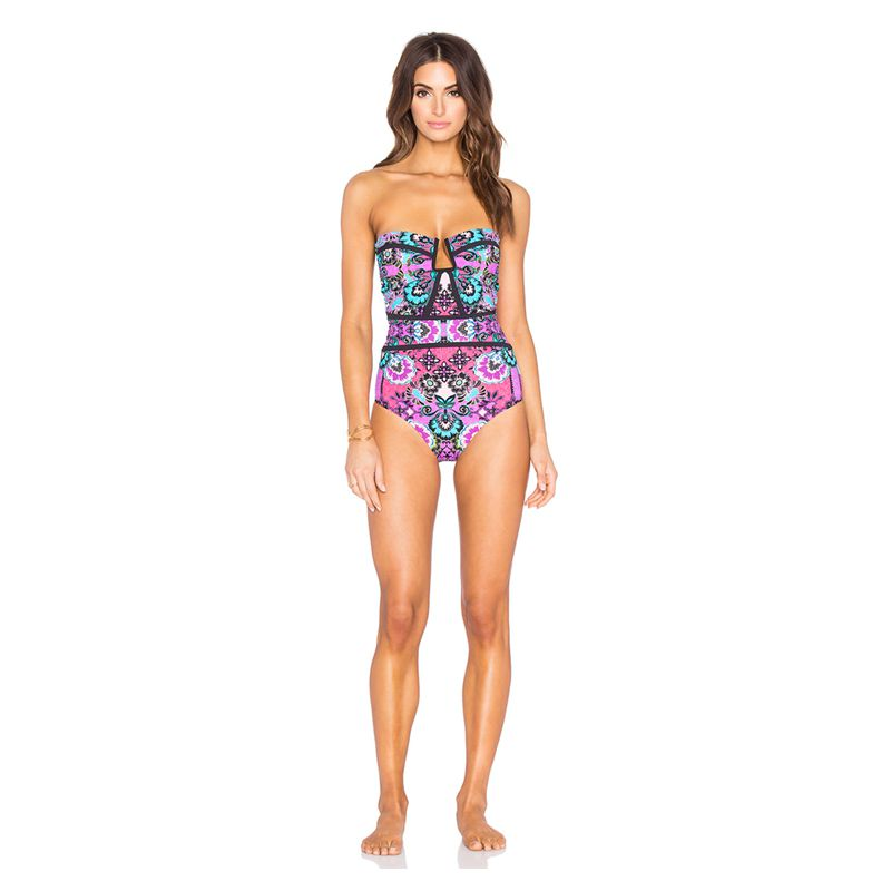 Bandeau Printed May Beach Biquini 2016 May Beach Leaf Print Bikini Orange Indoor Swimsuit Balconette bikini Seafolly Secret(China (Mainland))