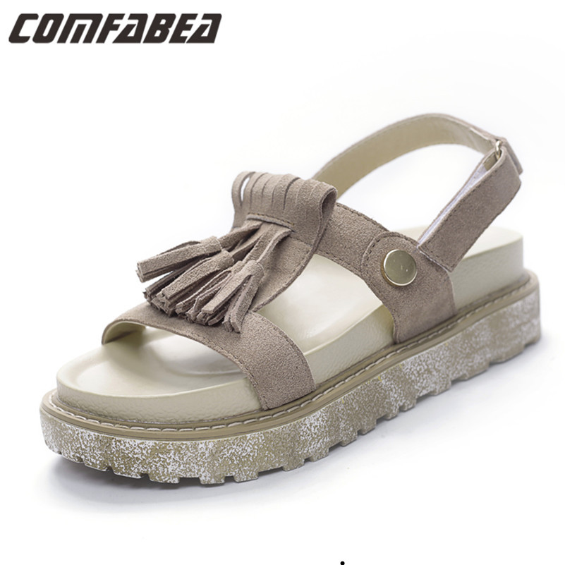 Genuine leather Sandals Women's Leisure Platform Sandals New 2016 Fashion Tassel Thick Sole Summer Rome Shoes LC#851F-2(China (Mainland))
