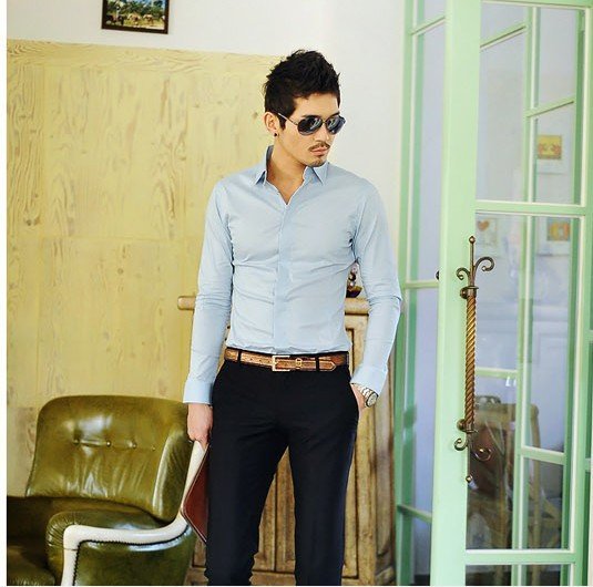 2014 men's casual shirts Slim fit stylish Dress men long Sleeve Shirts size M-XXL - Star clothing store