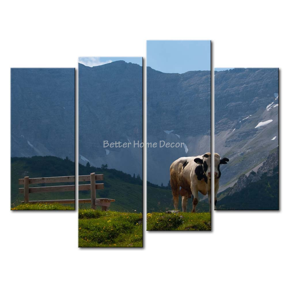 3 Piece Blue Wall Art Painting Karwendel A Cow Bench Grass Mountain Picture Print On Canvas Landscape 4 5 The Picture(China (Mainland))