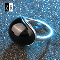 Unique Fashion Black Big Rings For Women Mosaic Big Resin Silver Plating PUNK Jewelry J0047 Open