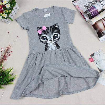 Hot Sale New 2017 summer girl dress cat print grey baby girl dress children clothing children dress 0-8years
