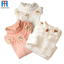 3-10T 2015 Kids Girl Sweater Fashion Lace Sweater Children Cotton Cardigan Baby Outerwear Girls Knitwear Clothes Spring Autumn(China (Mainland))