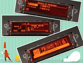 for 307 407 408  C4 C5 screen, support USB and Bluetooth screen English and French ,Red Screen.12 pin interface