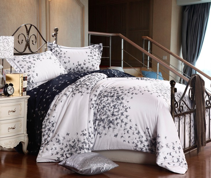 Luxury Egyptian Cotton Butterfly Bedding Sets Queen Size