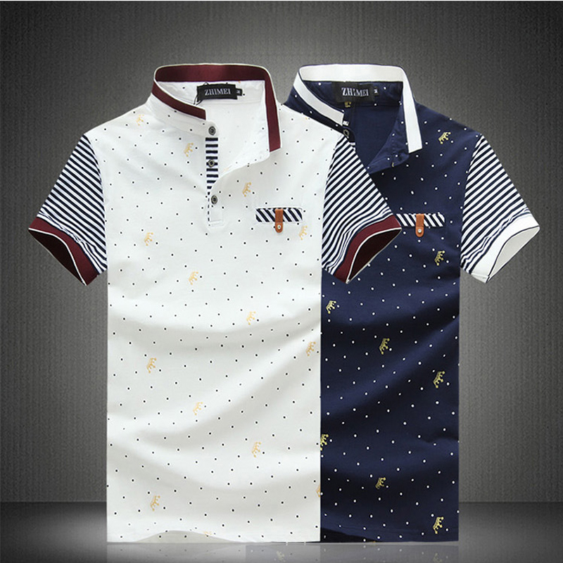 HOT Sale!High Quality Men's Fashion Cotton European&US Standard Size Dot printing polo shirt Short Sleeve Polos plus size(China (Mainland))