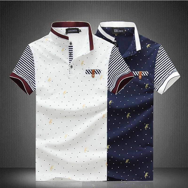 HOT Sale!High Quality Men's Fashion Cotton European&US Standard Size Dot printing polo shirt Short Sleeve Polos plus size(China (Mainland))