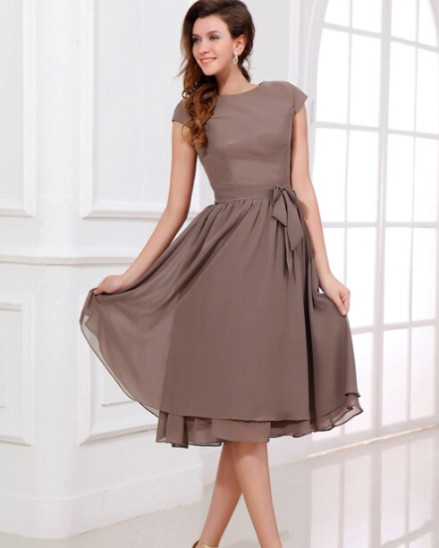 Brown knee length mother of the bride dresses 2015 summer for Brown dresses for a wedding