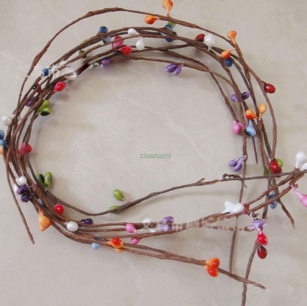 Colors! 20Pcs/Lot Artificial Primitive Folk Pip Berry Garland Hair Hand Flower Wedding Decoration 40CM(China (Mainland))