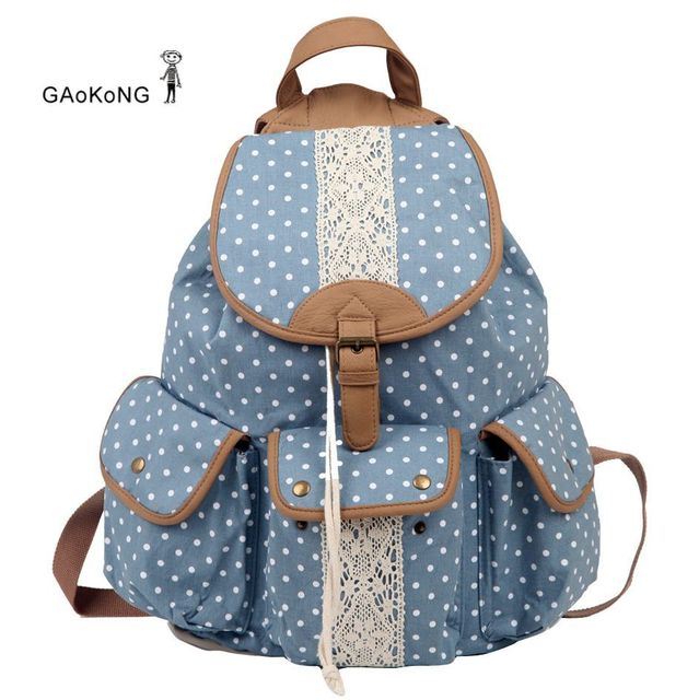 Gaokong polka dot lace cutout crochet small fresh preppy style double-shoulder canvas backpack