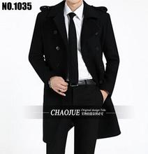 2016 Fashion Men's Autumn Winter Coat Turn-down Collar Wool Blends Men Pea Coat Double Breasted Winter Overcoat For Male 1035(China (Mainland))