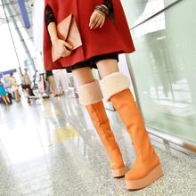 Botas sobre la rodilla alto botas de invierno de las mujeres nieve botas Cuñas de Plataforma de tacón alto Del Muslo botas 2014 Nueva moda sexy zapatos de las señoras(China (Mainland))