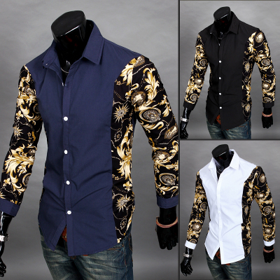 2014 New Autumn Winter Casual Dress Shirt Men Vintage Print Desigual Man Slim Fit Tops Shirts Clothes White,Navy Blue,Black - BIG SIZE GARMENTS store