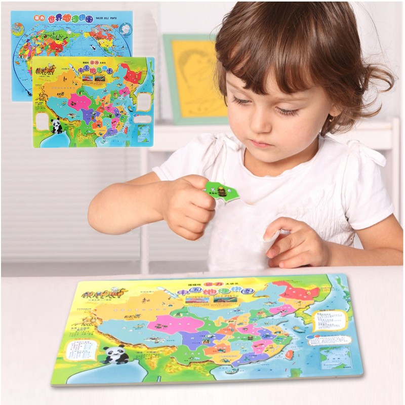 Wooden Magnetic Puzzle Toys World China Geography Map Shapes Jigsaw Children Baby Kids Intelligence Educational Toys(China (Mainland))