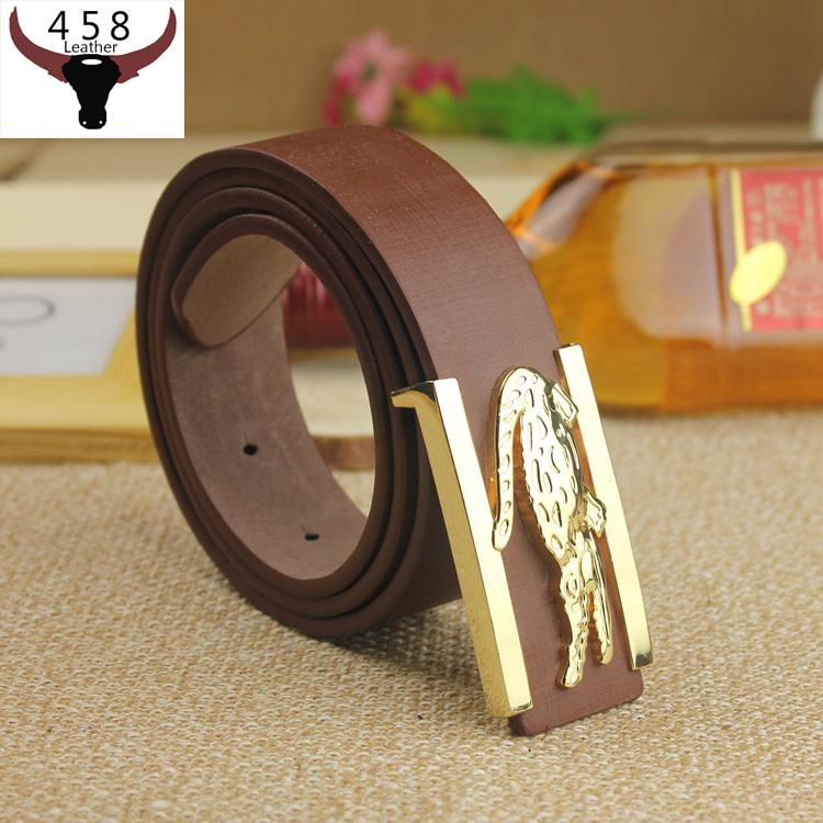 2015 New Designer Belts Men High Quality Golf Golden Crocodile Buckle Leather Belts For Men Luxury Fashion Brand Jeans strap(China (Mainland))