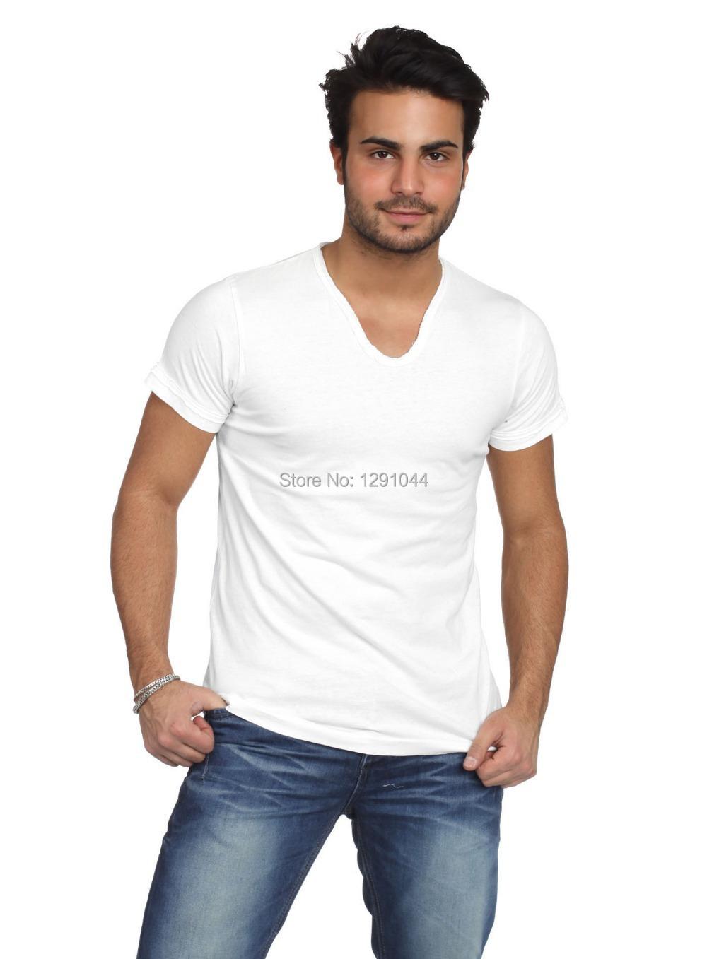 2014 French Fashion Style Brand Men Cotton Lycra Short Sleeve Raw V Neck T Shirt Basic Underwear