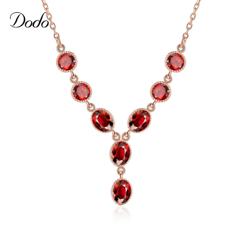 Eight vintage CZ diamond Rose gold plated Link Chain pendants necklaces for women girls gifts Daily Wear accessories DNE0042(China (Mainland))