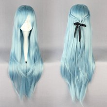 MCOSER High Quality 85cm Long Blue Anime Sword Art Online Asuna Yuuki Cosplay Wig(China (Mainland))