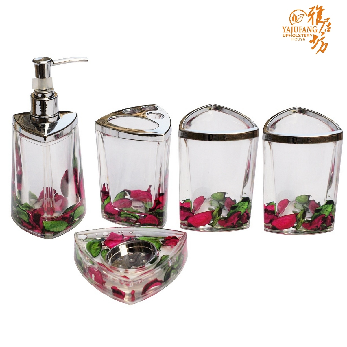 Acrylic bathroom set shukoubei supplies bathroom set for Bathroom accessories set