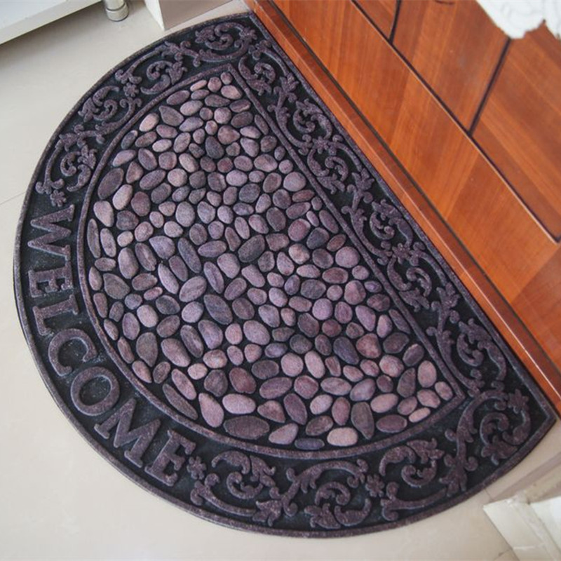 3D Creative simulation cobblestone outdoor rubber mats Welcome Home Carpet Thicken door Mat dust removal Wear otomanos alfombra(China (Mainland))