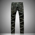 Men s casual denim biker jeans straight camouflage trousers slim patchwork army green pants europen American
