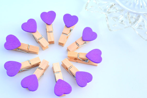 SALE: Purple Passion -wooden Heart Clothespins, mini set of 10 for Packaging Paper Gift Favor Bags Accessories Baby Shower Girls(China (Mainland))