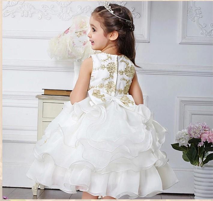 Скидки на ДЕТСКИЕ WOW Детские Платья на Продажу для Свадьбы Девочка Принцесса 1 Год Рождения Крещение Платья Крещение Платье 8032