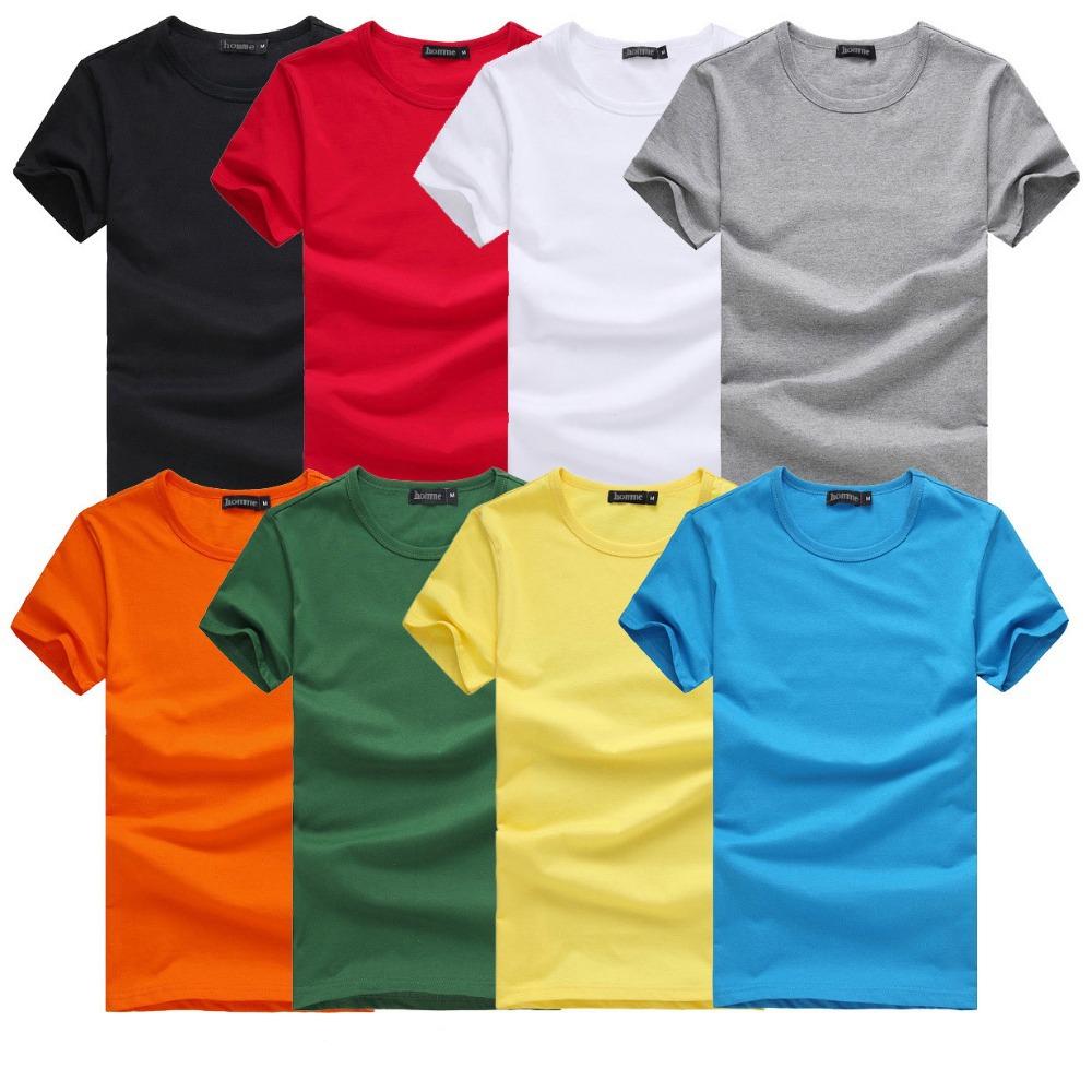 2015 Free Shipping new  Slim dark green red orange blue gray black  white T shirts Slim Fit Short Sleeve T-shirt  6 size S-XXXL(China (Mainland))