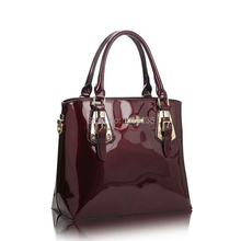 Red Wine japanned leather shiny shaping bag bucket bag women's handbag 2016 women's fashion handbag messenger bag (970g)(China (Mainland))