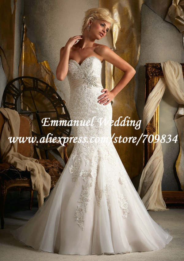 Pretty fashion mermaid heart shape neck appliques lace for Heart shaped mermaid wedding dresses