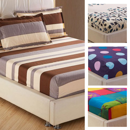 one piece printing fitted sheet twin full queen king size