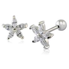 1 Pair Flower Star Earrings Cz Zirconia Ear Stud Earring For Women 16 Gauge Cheap Earring Screw Ball Cute Earrings Girls Jewelry