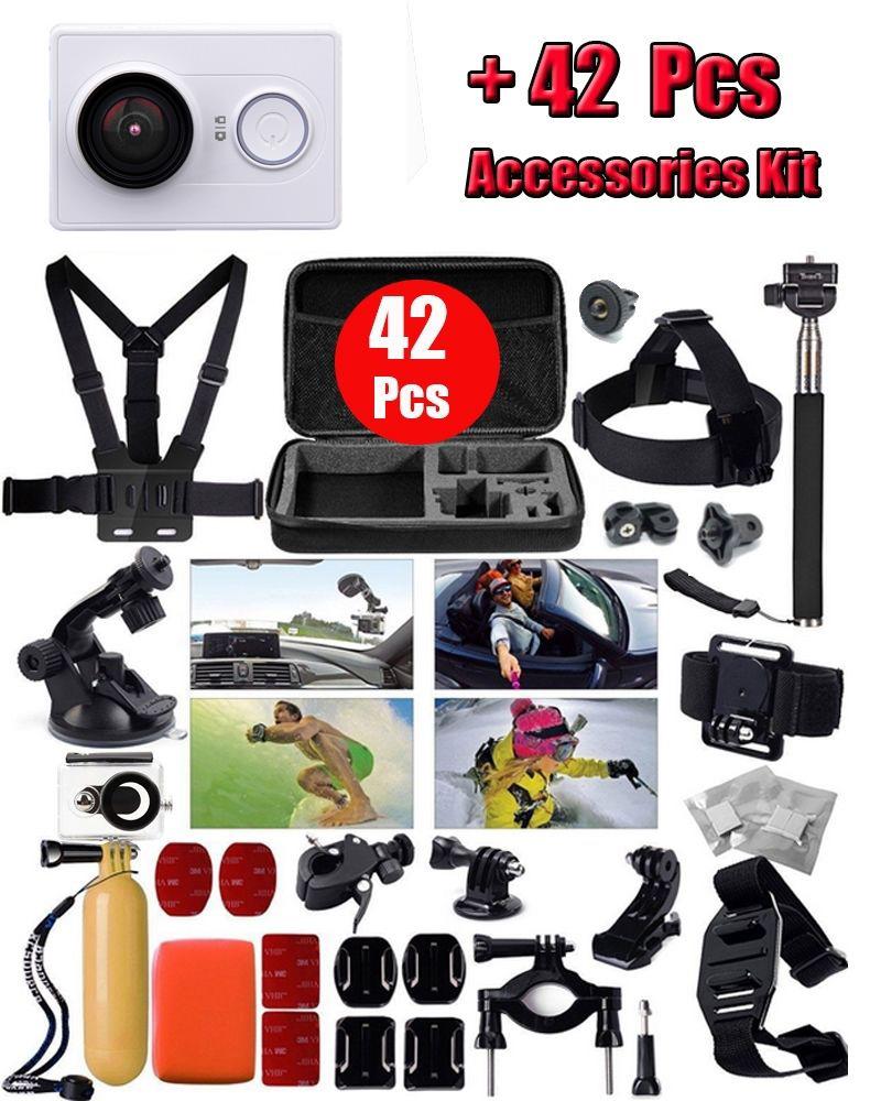 Оригинал Xiaomi Yi 1080 P 16MP Ambarella A7 WI-FI Mini DV Спорт Действий Камеры + 42 в 1 Водонепроницаемый Ремень Аксессуары комплект