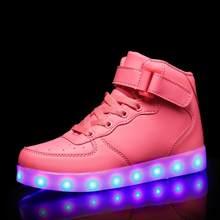 קלאסי Led נעליים לילדים ומבוגרים USB chargering אור עד נעלי ספורט עבור בני בנות גברים נשים זוהר אופנה המפלגה נעליים(China)