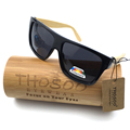 Free Shipping Classical Eyewear PC Frame with Bamboo Temple Sunglasses and Polarized REVO Lens W1001b Wooden