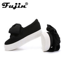 Fujin 3cm siyah gri kadın bahar botları kış moda kadınlar Flats yay kadın platform ayakkabılar Espadrilles üzerinde kayma ayakkabı sürüngen(China)