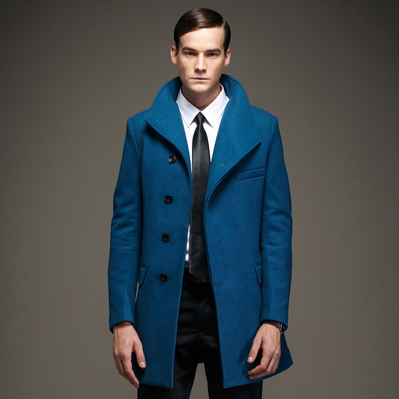 Blue Wool Trench Coat