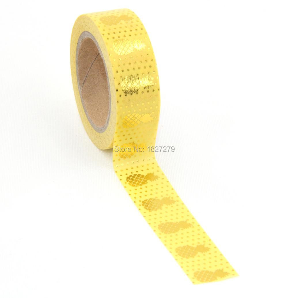 New 1X 15mm  Gold Stamping Pineapple Fruit Japanese Washi Tape Scrapbooking Tools Papelaria Decorative Masking Tape Lot 15mm*10m