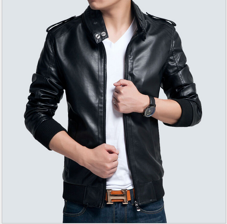 2015 New Brand Men Leather Jacket Korean Fashion Casual Slim Fit Leather Jacket Coat 3 Colors ...