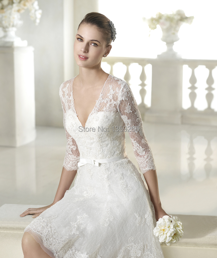 Hot sale 2015 short wedding dresses lace see through back for Wedding dresses with sleeves for sale
