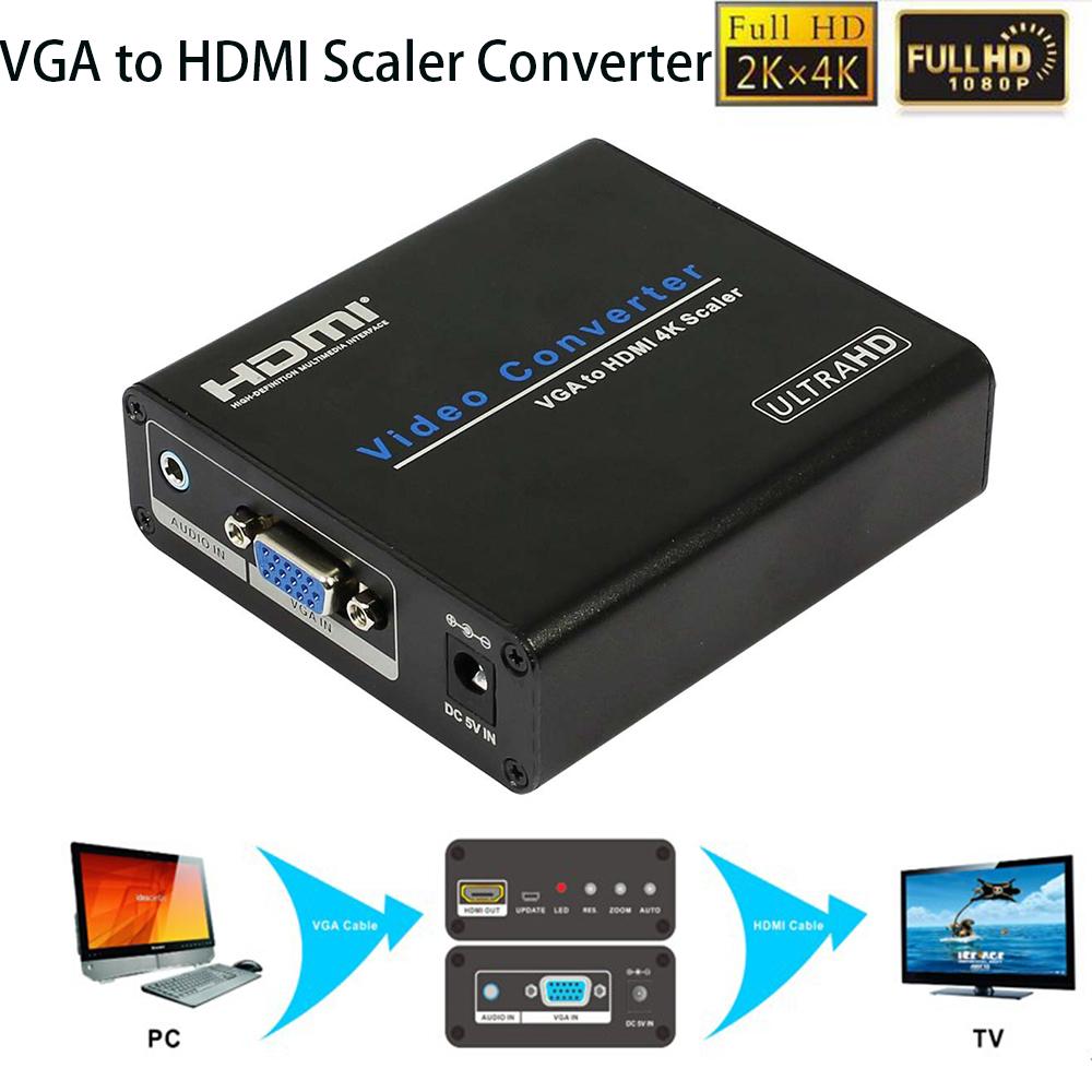 1080P VGA HDM Scaler Analog Digital Audio Video Converter box 4Kx2K PS3 PC Laptop TV Box Projector Power Adaptor