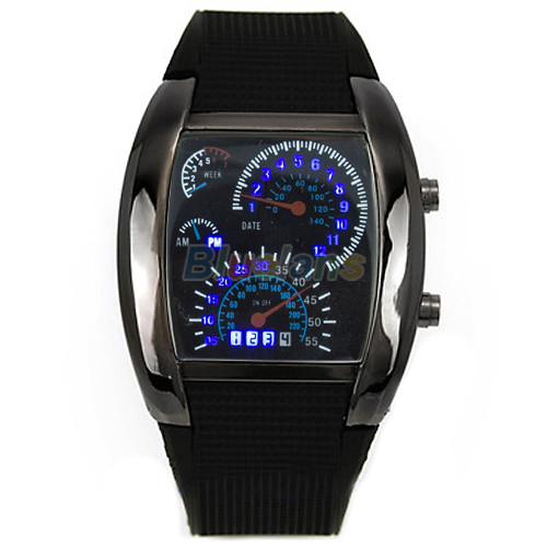 HOT SALE RPM Turbo Blue Flash LED Mens Sports Car Meter Dial Watch C2K5W