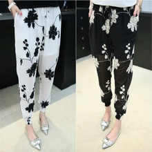 2016 Fashion Summer Women Haren Pants Thin Chiffon Trousers Loose Leisure Pants Out Wear Plus Size Embroidery Asymmetry Pants(China (Mainland))