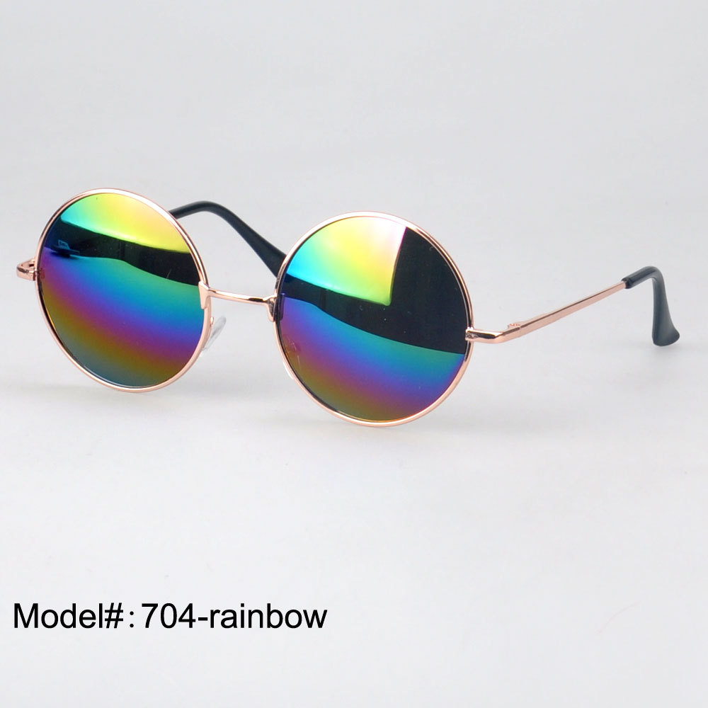 6 color choice 704 our door protection oculos circle spring hinged temple round metal sunglasses(China (Mainland))