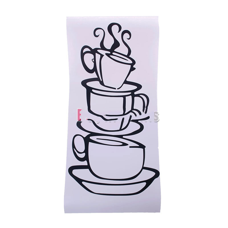 HitLife big discount Removable DIY Home Wall Sticker Kitchen Decal Decor Coffee House Cup Decals Mug Modern for Design(China (Mainland))