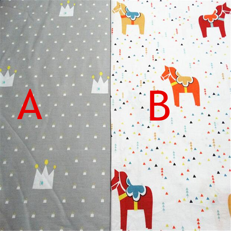 1meter width 235cm nordic cute horse pattern cotton fabric for Horse fabric for kids